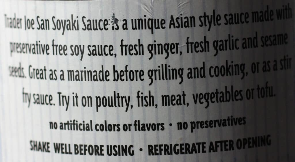 Trader Joe's Soyaki description