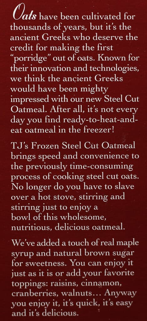 Trader Joe's Steelcut Oatmeal description on box