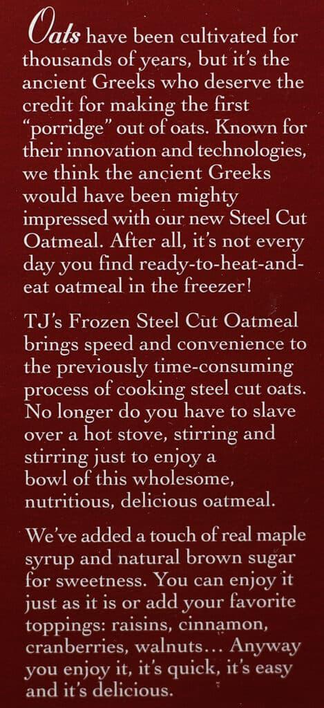 Trader Joe's Steelcut Oatmeal description on box