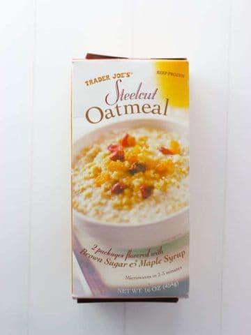 An unopened box of Trader Joe's Steelcut Oatmeal box