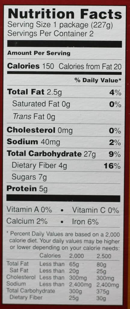 Trader Joe's Steelcut Oatmeal nutritional information
