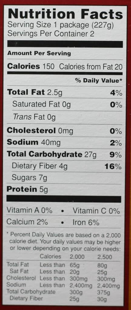Trader Joe's Steelcut Oatmeal nutritional information