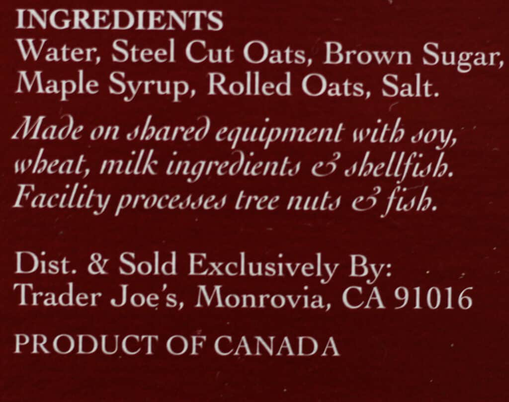 Trader Joe's Steelcut Oatmeal ingredients