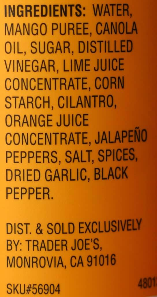 Trader Joe's Sweet and Spicy Mango Vinaigrette ingredients
