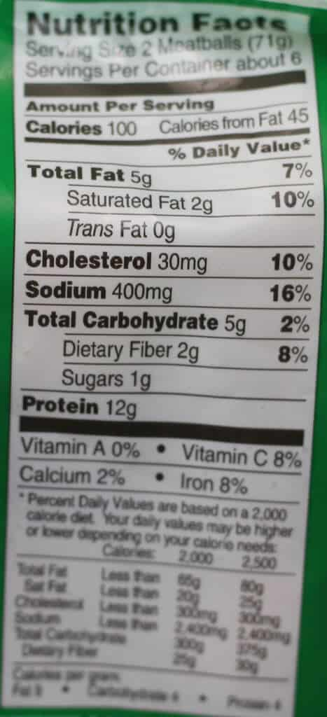 Trader Joe's Turkey Meatballs nutritional information