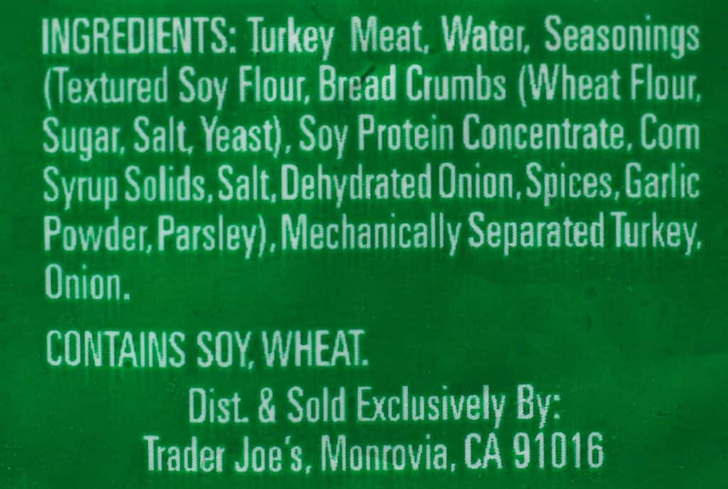 Trader Joe's Turkey Meatballs ingredients