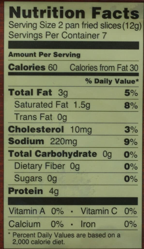 Trader Joe's Uncured Dry Rubbed Sliced Bacon nutritional information