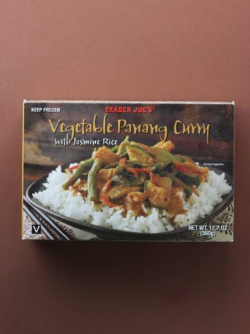An unopened box of Trader Joe's Vegetable Panang Curry
