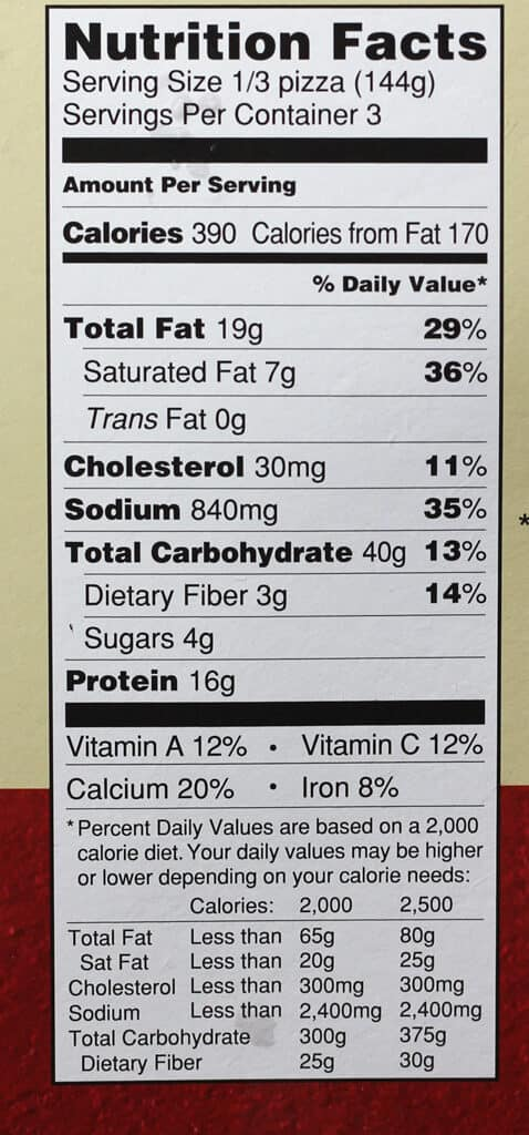 Trader Joe's Vegetable Panang Curry nutritional information