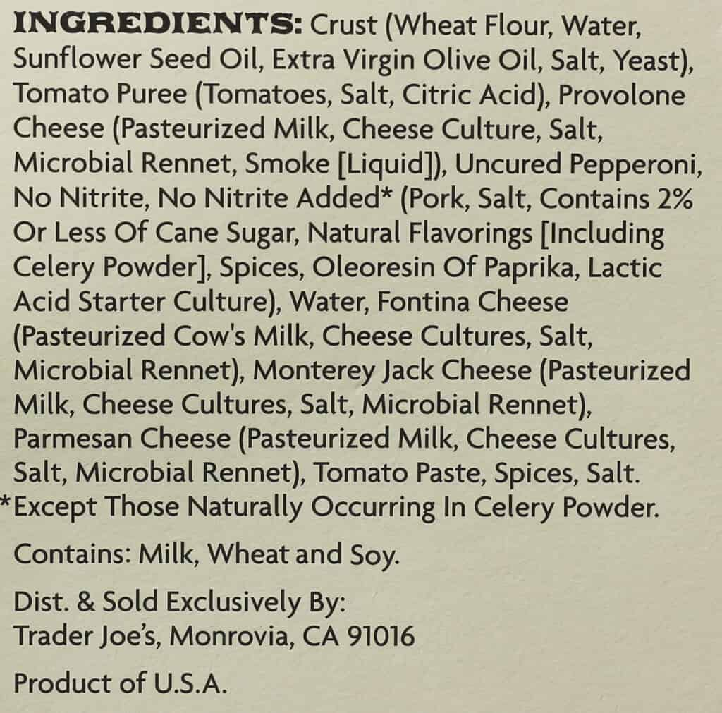 Trader Joe's Wood Fired Naples Style Uncured Pepperoni Pizza ingredient list