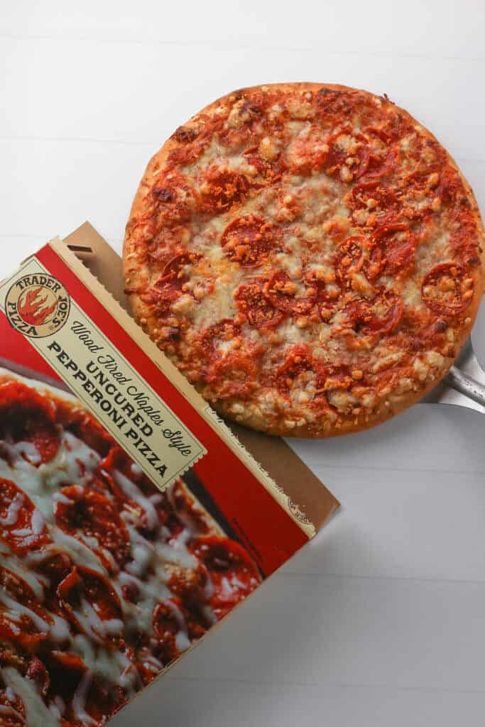 Trader Joe's Wood Fired Naples Style Uncured Pepperoni Pizza fully cooked