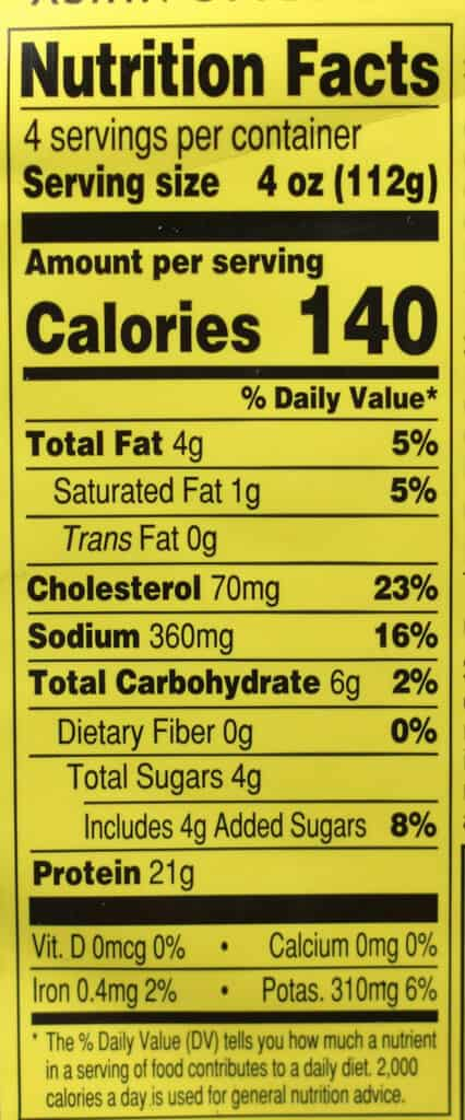 Trader Joe's Asian Style Ground Chicken nutritional information