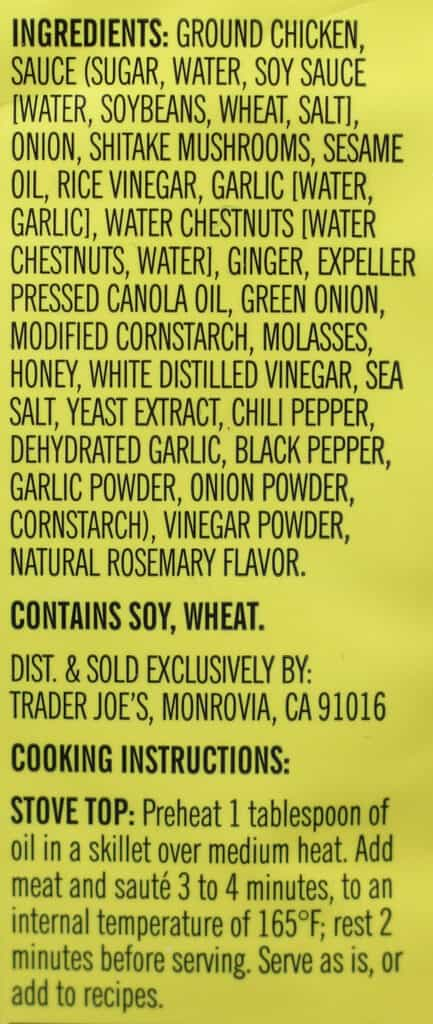 Trader Joe's Asian Style Ground Chicken ingredient list