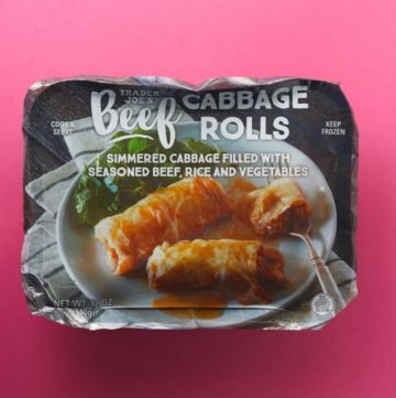 An unopened package of Trader Joe's Beef Cabbage Rolls