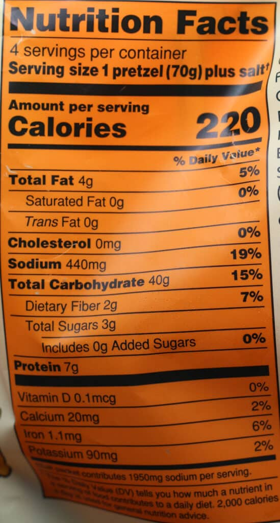 Trader Joe's Big Soft Pretzels nutritional information