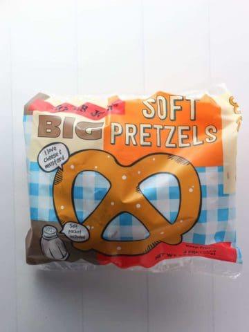 An unopened bag of Trader Joe's Big Soft Pretzels