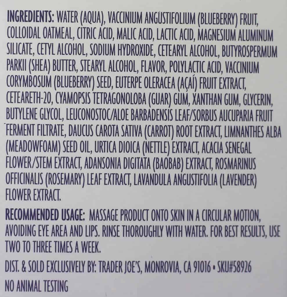 Trader Joe's Blueberry and Acai Facial Scrub ingredients