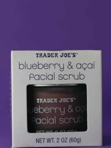 An unopened box of Trader Joe's Blueberry and Acai Facial Scrub