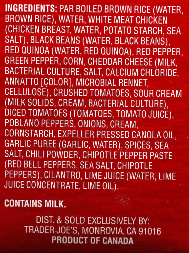 Trader Joe's Chicken Burrito Bowl ingredients