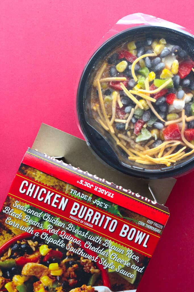 Trader Joe's Chicken Burrito Bowl out of the box