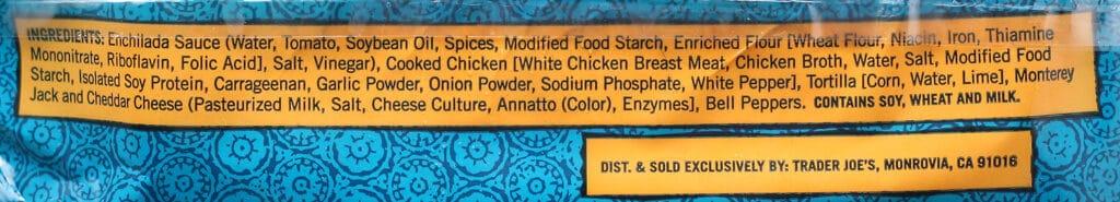Trader Joe's Chicken Enchiladas ingredients
