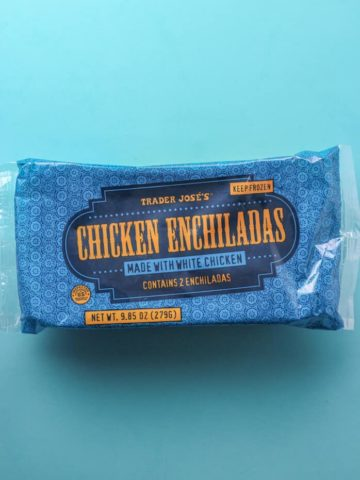 An unopened bag of Trader Joe's Chicken Enchiladas