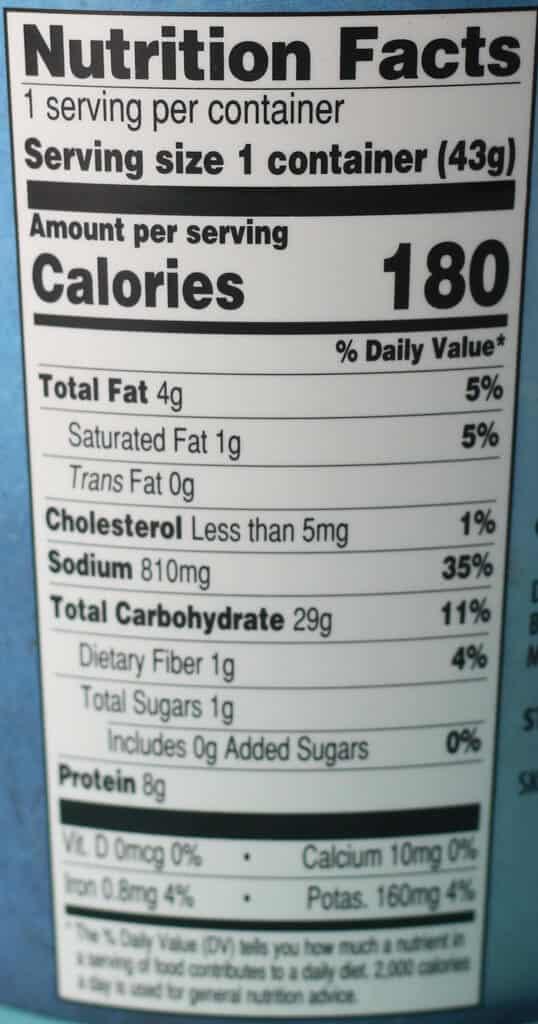 Trader Joe's Chicken Ramen Soup nutritional information