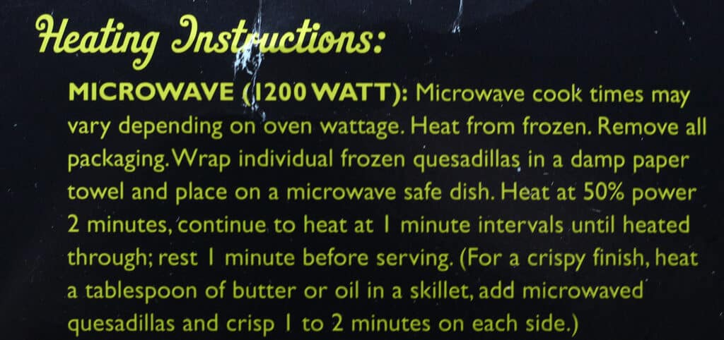 Trader Joe's Chipotle Vegetable Quesadillas microwave instructions