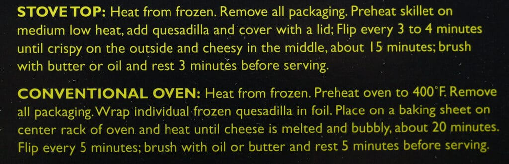Trader Joe's Chipotle Vegetable Quesadillas directions