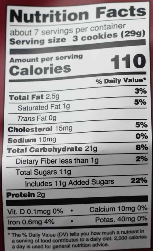 Trader Joe's Chocolate Chunk Cantuccini nutritional label