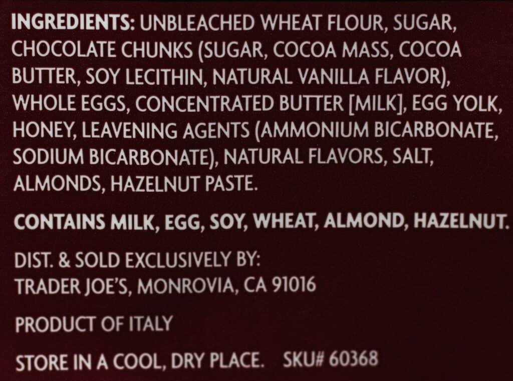 Trader Joe's Chocolate Chunk Cantuccini ingredient list