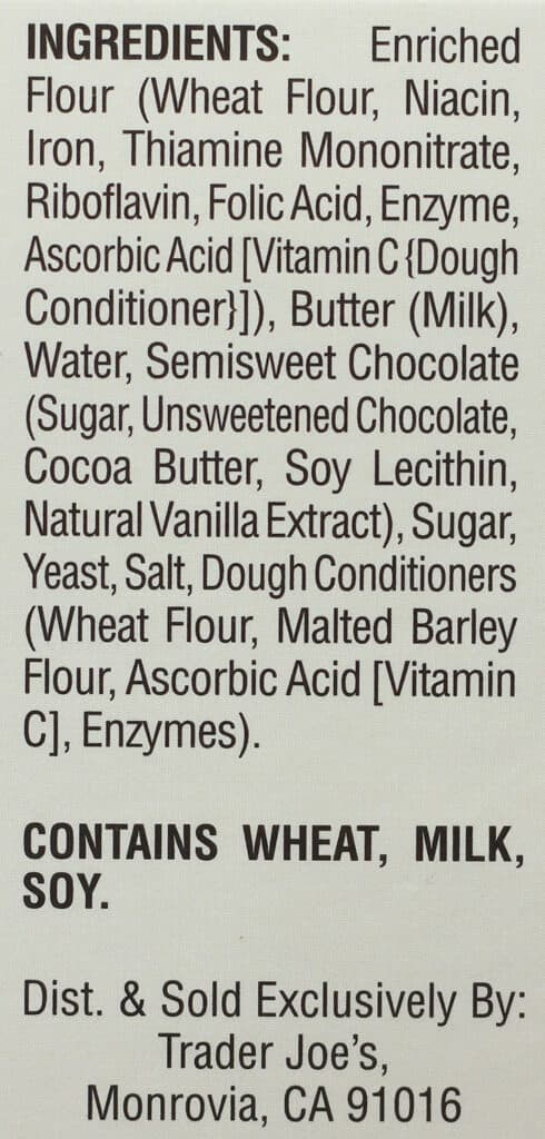 Trader Joe's Chocolate Croissants ingredients