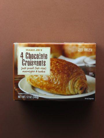 An unopened box of Trader Joe's Chocolate Croissants