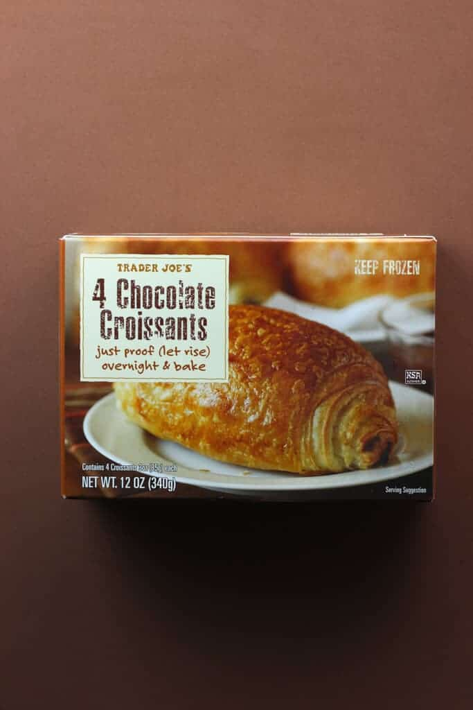 An unopened box of Trader Joe's Chocolate Croissants