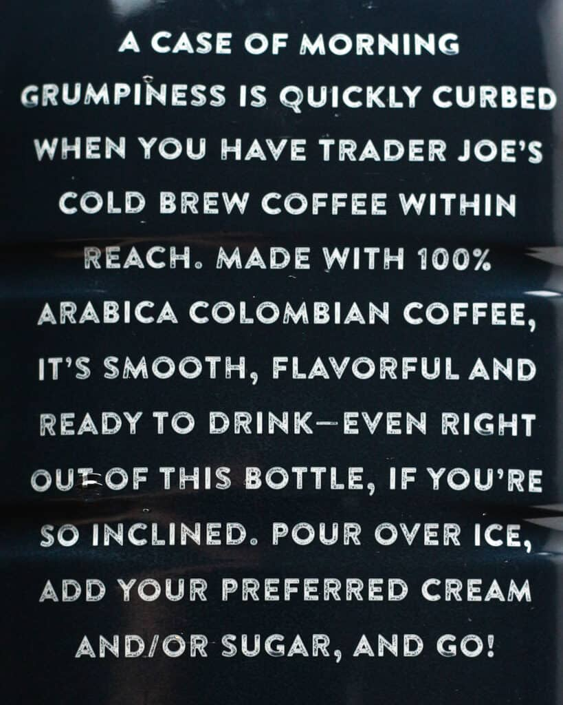 Trader Joe's Cold Brew Coffee Ready to Drink description