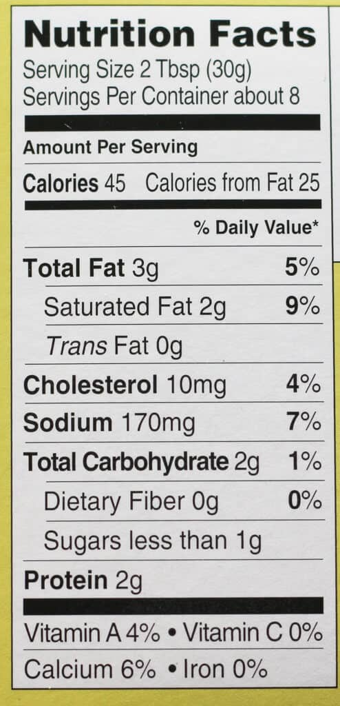 Trader Joe's Creamy Spinach and Artichoke Dip nutritional information