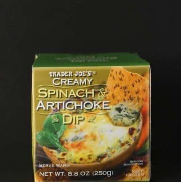 An unopened box of Trader Joe's Creamy Spinach and Artichoke Dip
