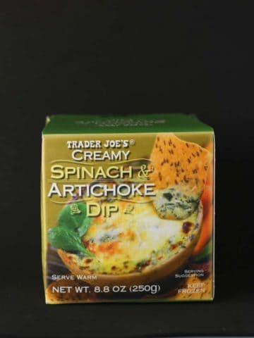An unopened box of Trader Joe's Creamy Spinach and Artichoke Dip