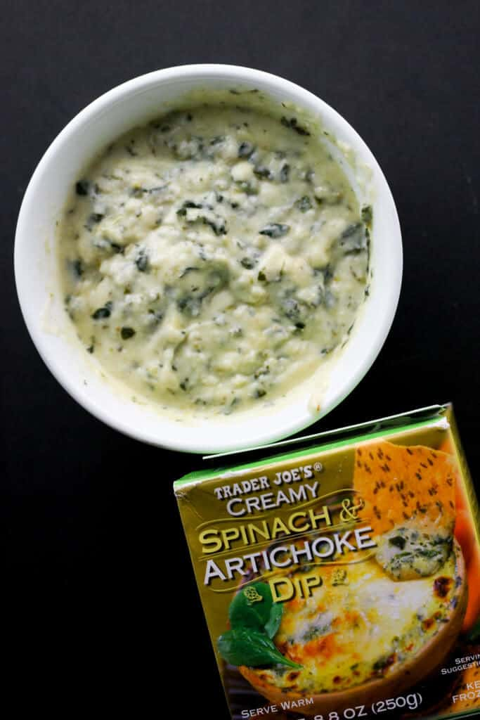 Trader Joe's Creamy Spinach and Artichoke Dip fully heated