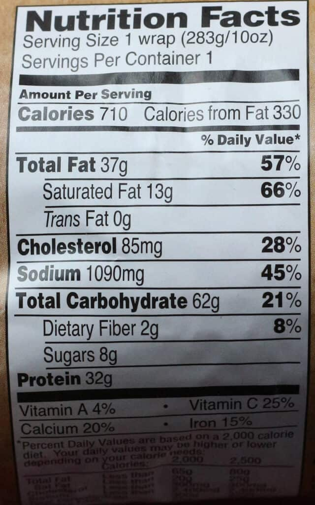 Trader Joe's Cubano Seasoned Wrap calorie count and nutritional information