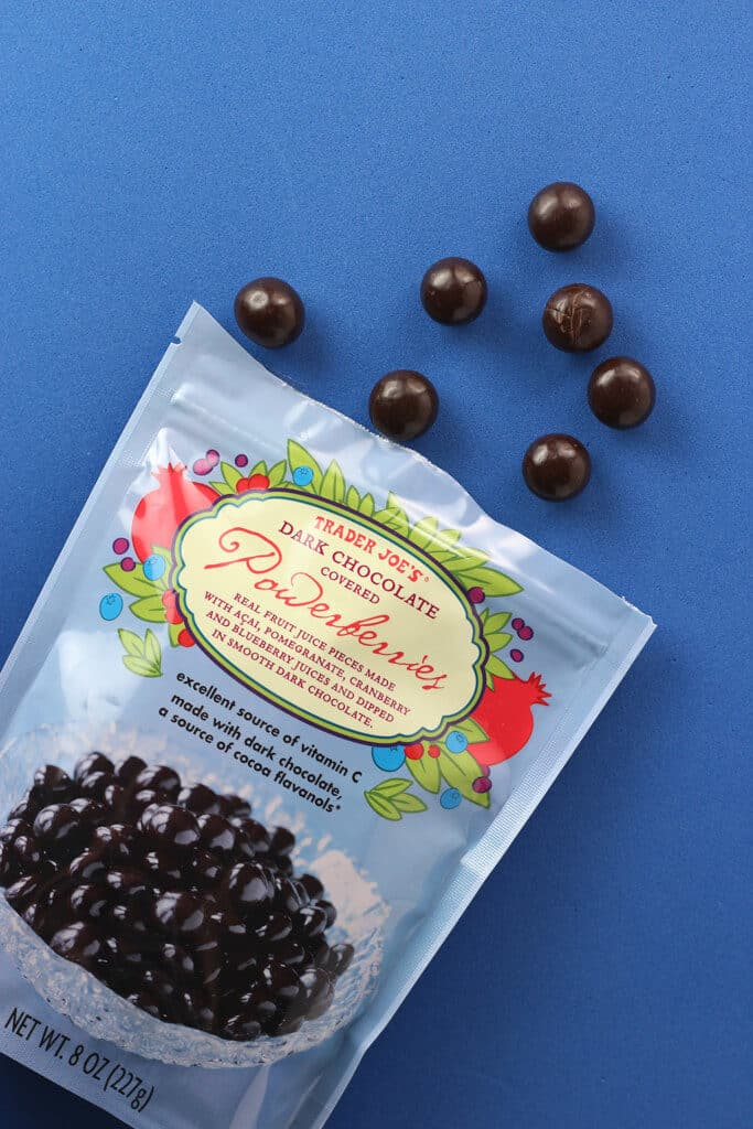 Trader Joe's Dark Chocolate Covered Powerberries out of the bag