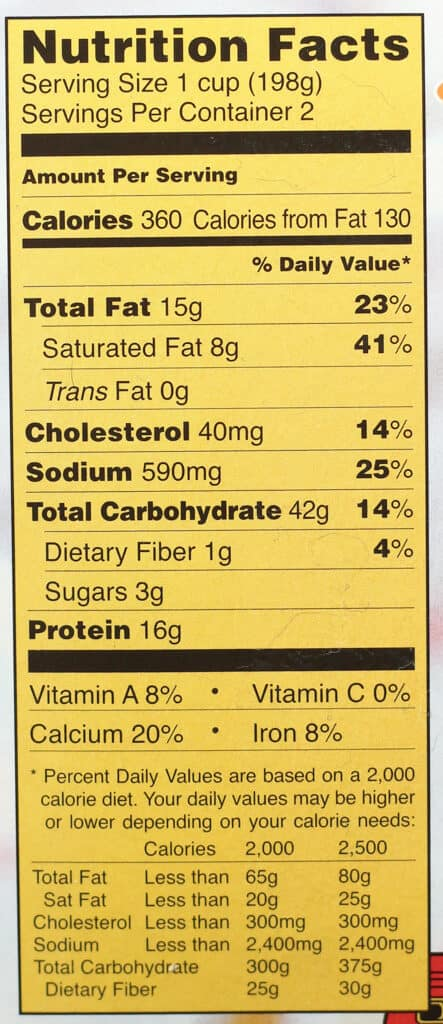 Trader Joe's Diner Mac and Cheese nutritional information