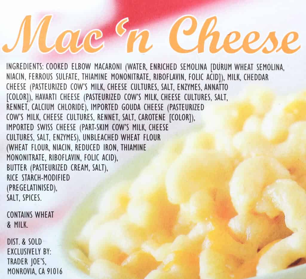 Trader Joe's Diner Mac and Cheese ingredients
