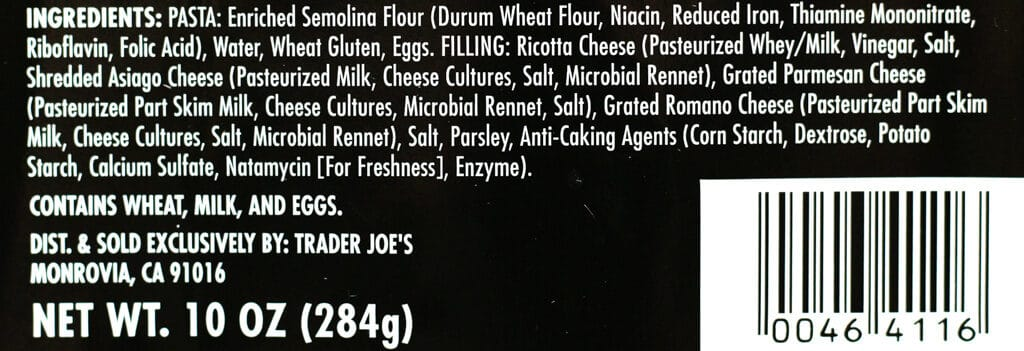 Trader Joe's Four Cheese Jumbo Ravioli ingredients
