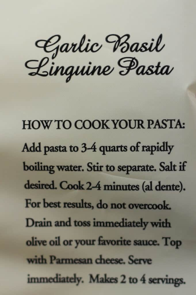 Trader Joe's Garlic Basil Linguine Pasta directions