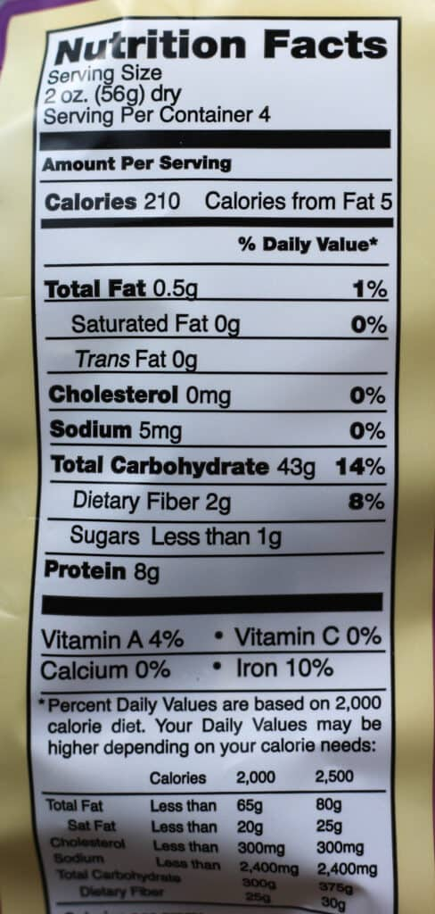 Trader Joe's Garlic Basil Linguine Pasta nutritional information