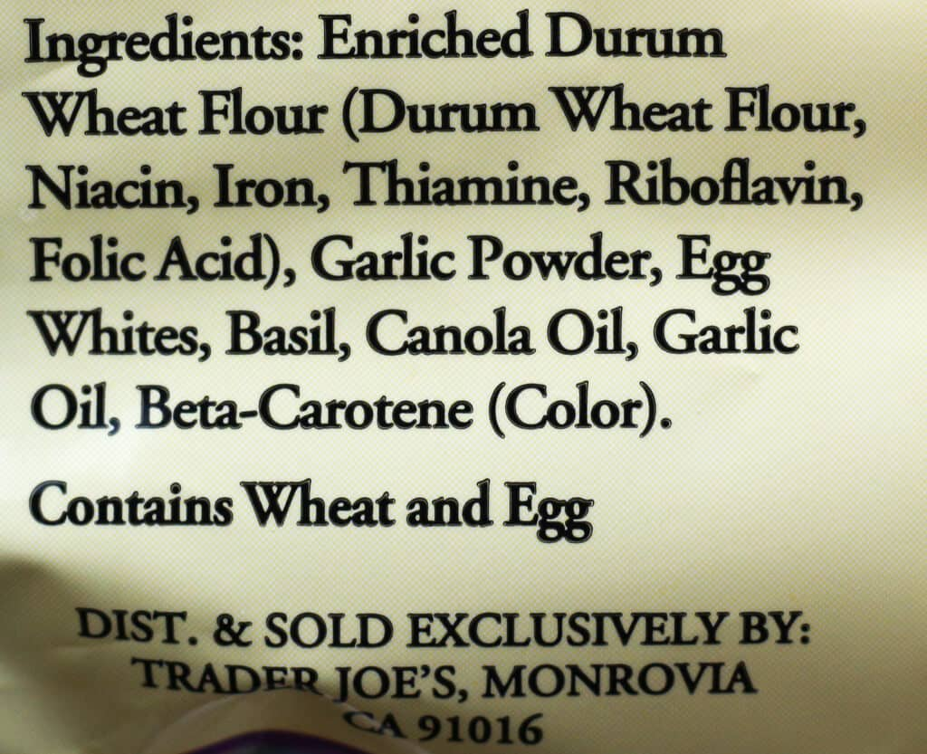 Trader Joe's Garlic Basil Linguine Pasta ingredients
