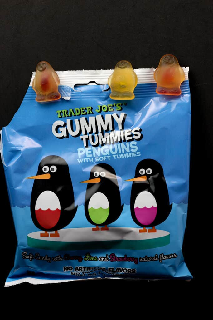 Trader Joe's Gummy Tummies Penguins out of the package
