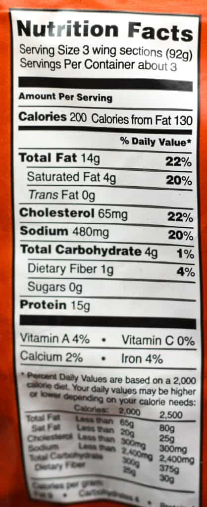 Trader Joe's Hot & Spicy Chicken Wings Sections nutritional information