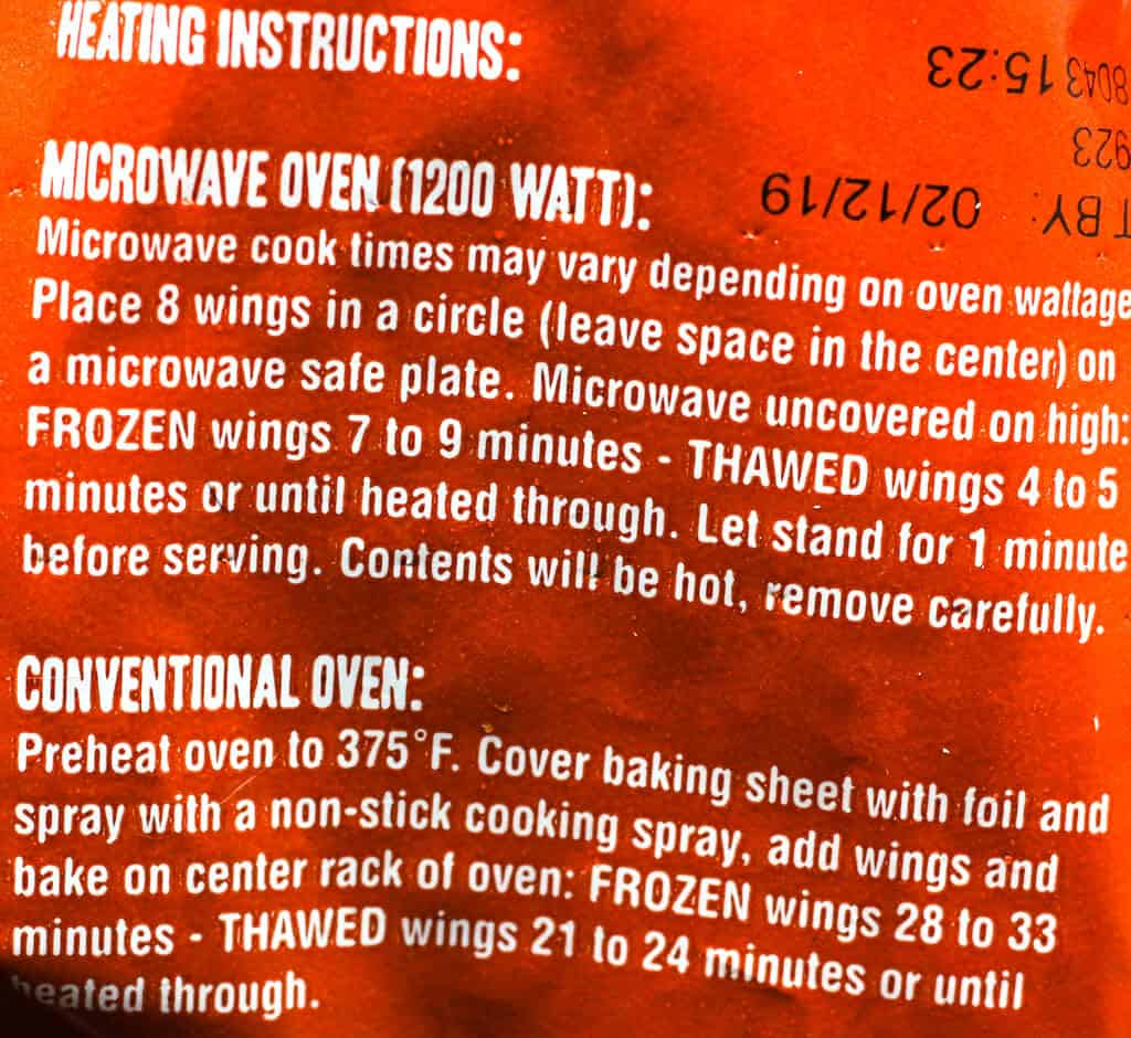 Trader Joe's Hot & Spicy Chicken Wings Sections directions